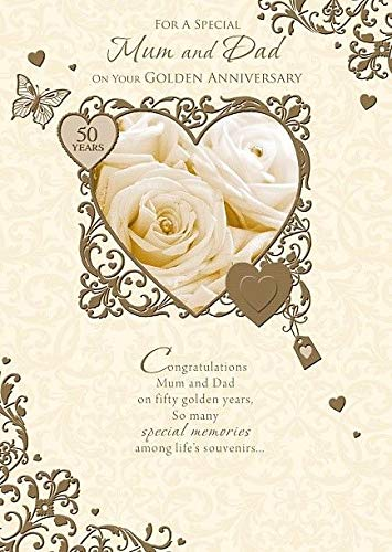 Golden Anniversary Nice Verse 50 Year Parents Greeting Card - Mum and Dad (Wedding Anniversary Verses For Mum And Dad)