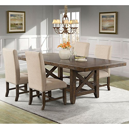 Francis Dining Table, 4 Fabric Back Side Chairs