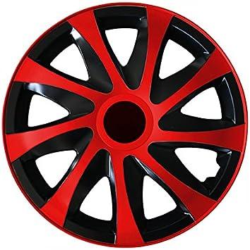 Eight Tec Handelsagentur Größe Wählbar 15 Zoll Radkappen Radzierblenden Draco Bicolor Schwarz Rot Passend Für Fast Alle Fahrzeugtypen Universal Auto