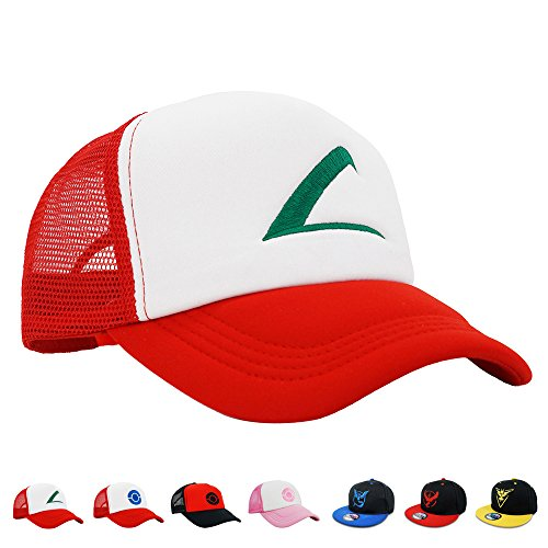 Ash Ketchum And Pikachu Costume (PopCrew Embroidered Team Trainer Hat for Cosplay Costume, Trucker, Snapback)
