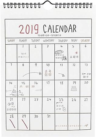 STOBOK Calendario de pared 2019 Planificador mensual Calendario de ...