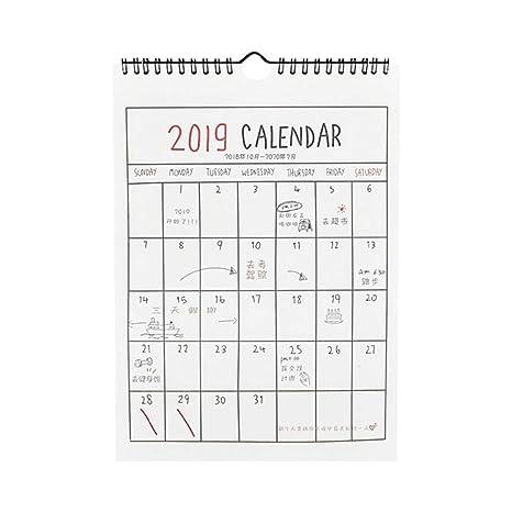 STOBOK Calendario de pared 2019 Planificador mensual ...