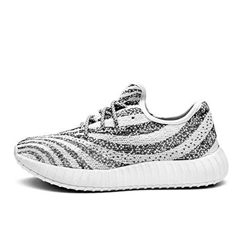 Baskets Pour Homme Gym Marche Baskets Fitness Léger Sports Chaussures de Course à Pied - - White-Grey-2,