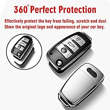 COVELL for Audi Key Fob Cover Premium Soft TPU 360 Degree Full Protection Key Fob Case Compatible with Audi A1 A3 A6 Q2 Q3 TT TTS R8 S3 S6 RS3 RS6 Smart Remote Key Fob Silver