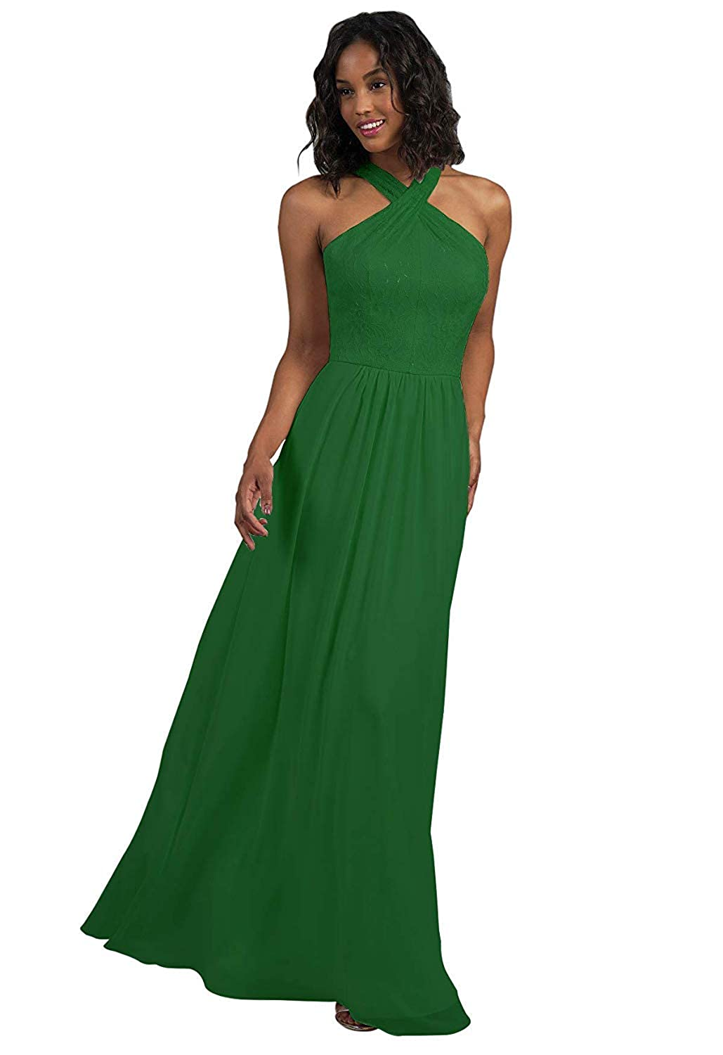 Emerald Green RTTUTED Lace Long Bridesmaid Dresses with CrissCross Neckline Prom Evening Gown