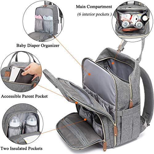Diaper Bag Backpack,Maternity Nappy Bag with USB Charging Port Stroller Straps