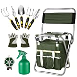 10 Piece Garden Tool Set Heavy Duty Garden Hand Tools Kit with Folding Stool, Storage Bag and 5 Gardening Tools