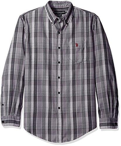 U.S. Polo Assn. Men's Long Sleeve Classic Fit Plaid Peached Twill Button Down Sport Shirt, Mid Grey, - Polo Tartan