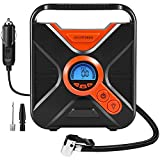 #9: Alloyseed Portable Tire Inflator, Digital Air Compressor Pump Auto to Gauge and Shut Off, 12V DC 150 PSI Tire Pump with Emergency LED Lights for Car, Truck, Vehicle, Bicycle RV and Inflatables