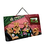 Home of Airedales 4 Dogs Playing Poker Photo Slate Hanging
