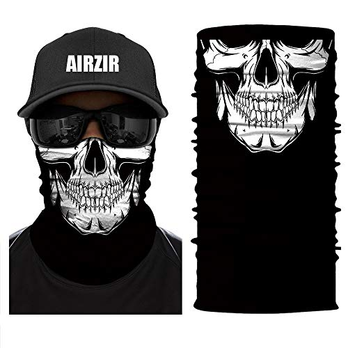 Airzir Skull Face Mask Premium Breathable Seamless Tube Motorcycle Face Mask Wind Dust UV Protection Moisture Wicking Microfiber Face Mask for Motorcycle Riding Cycling Hiking Climbing (Skull-377) -