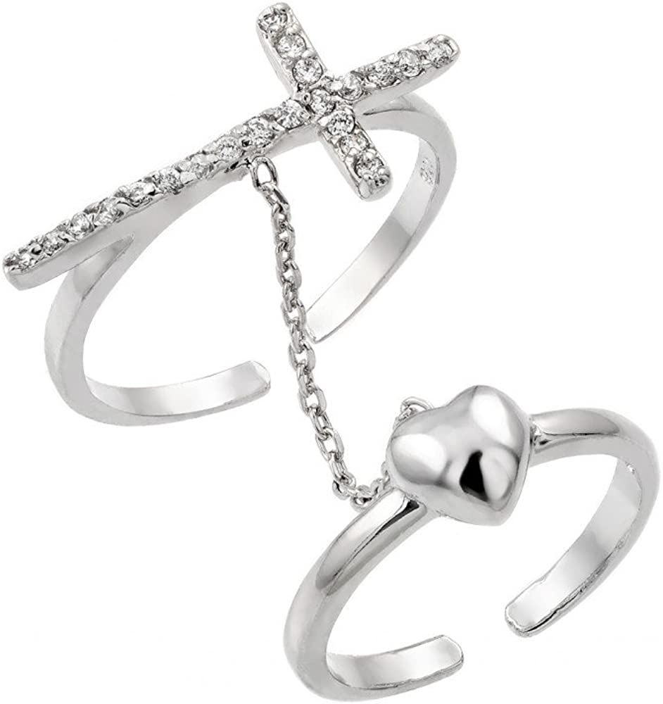 Clear Cubic Zirconia Cross Heart Knuckle Slave Ring Rhodium Plated Sterling Silver