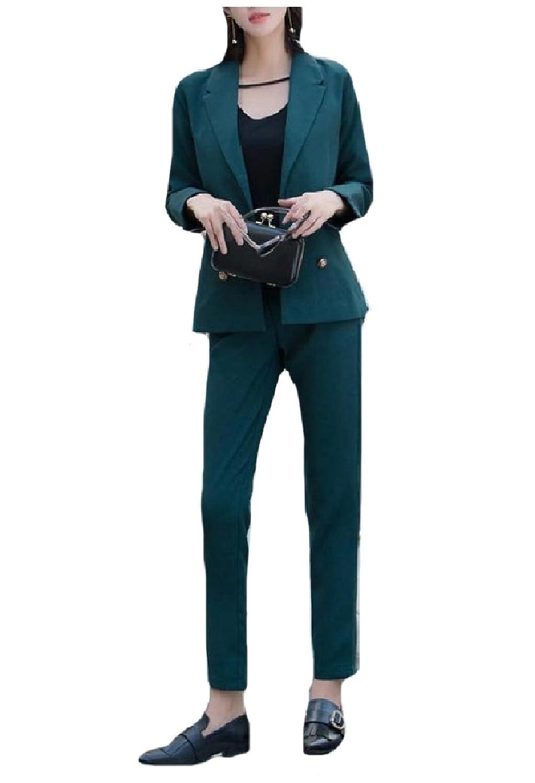 Abetteric Women's Wear to Work Blazer Tenths Pants 2 Pieces Outfits Suit