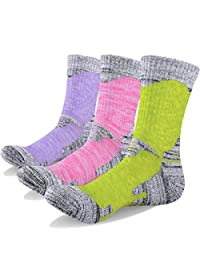 YUEDGE Women's Wicking Cushion Crew Cotton Outdoor Performance Hiking Trekking Running Walking Socks