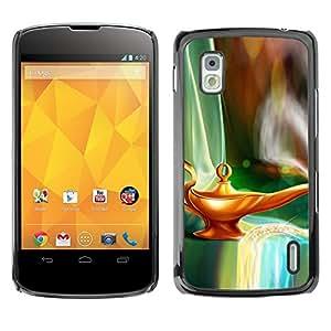 TECHCASE**Cubierta de la caja de protección la piel dura para el ** LG Google Nexus 4 E960 ** Magical Lamp Gini Art Fairytale Dreamworld