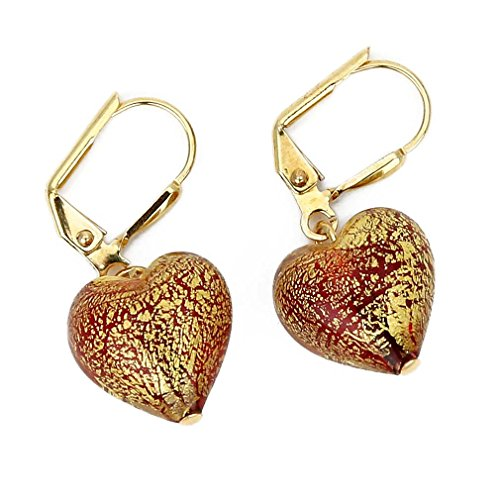 - GlassOfVenice Murano Glass Ca D'Oro Heart Earrings - Red