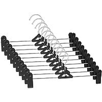 IDMAX Pants Hangers, Adjustable Heavy Duty Hangers with Non-Slip Plastic Clips Clothes Hangers Skirt Coat Suit Metal…