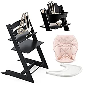 Stokke High Chair, Black Bundle With Mini Baby Cushion, Pink Bee