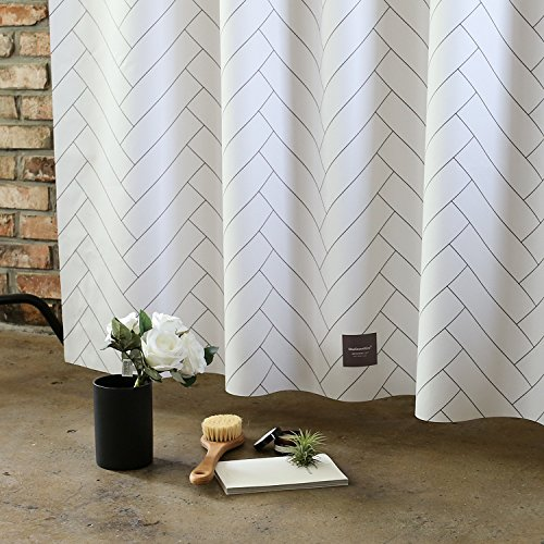 Shower Curtain with Hooks - Simple Design of Hotel Style, Mildew Resistant & Water Repellent, 71x74 Inches, 5 Types of Modern Boutique Collection for Bathroom (Herringbone) ()