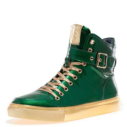 Patent Men Sneakers - Jump Newyork Men's Sullivan 24K Round Toe Hand-Painted Leather Lace-up Inside Zipper and Strap High-Top Sneaker Green Patent 8 D US Men