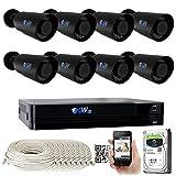 GW 8 Channel 4K NVR 8MP (3840x2160) H.265+ IP PoE Security Camera System with 8 UHD 4K 2.8-12mm Varifocal Zoom 8.0 Megapixel Weatherproof Bullet Camera, Face Recognition, Intelligence Analytics