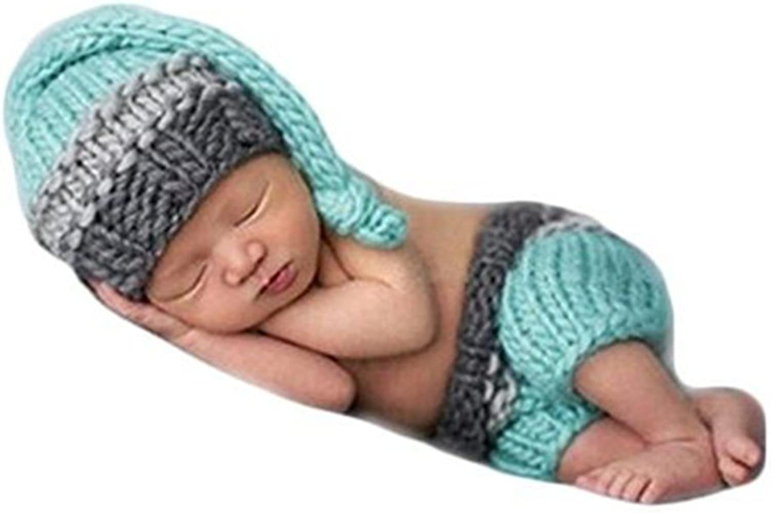 Gray Pilot Set for Newborn Photography Props Crochet Knitted Baby Boys Costume