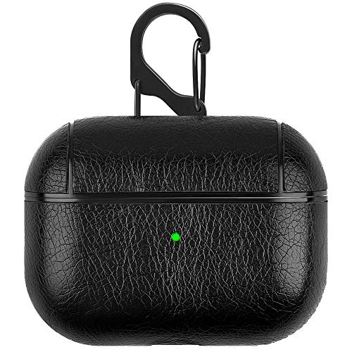 Mysail Leather Skin Protective Shockproof Cover with Keychain Support Wireless Charging [No Dust] Compatiable with Airpods Pro & 3 – Black [AIRPODS NOT Included]