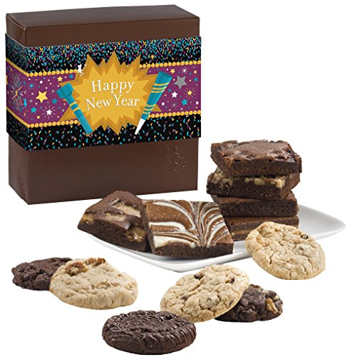 Fairytale Brownies New Year Cookie & Brownie Combo Gourmet Food Gift Basket Chocolate Box - 3 Inch Square Full-Size Brownies And 3.25 Inch Cookies - 12 Pieces