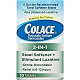Colace 2-in-1 Tablets Stool Softener & Stimulant Laxative, 3 Packs (30 Tablets) Laxative. No 1