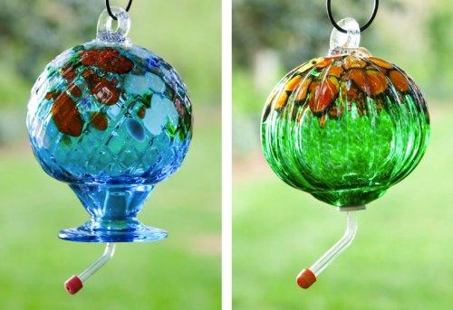 Evergreen Garden,Metal and Glass,Humming Bird Feeder,Speckled,8.75x8.75x8.25 Inches,Assorted 2 (Feeder Bird Speckled)