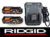 Ridgid 18 Volt Dual Chemistry Battery Charger R86092 & (2) Batteries R840085 (Certified Refurbished)