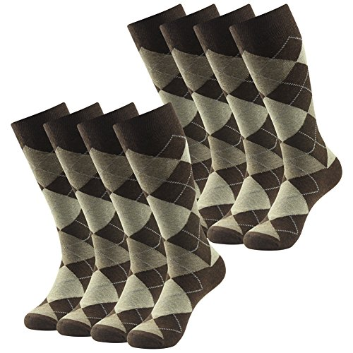 Argyle Knit Dress (SUTTOS Men's Groomsmens Wedding Dress Socks Argyle Jacquard Dobby Flat Knit Big & Tall Mid Calf Long Crew Tube Socks,8 Pack, One Size)