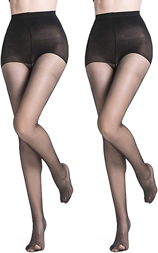 Silkies control top panty sheer legs nylon Natural tights Size Medium