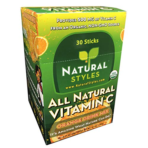 Vitamin C Easy-Mix Sticks (30-Count, Orange Flavor) Dietary Supplement Non-Fizzy Drink Mix with 550% RDA Vitamin C, 0.21 Ounce Stick Packs, Caffeine-Free