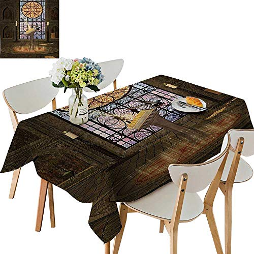 UHOO2018 100% Polyester Tablecloth Lectern on Pentagram Symbol Medieval Architecture Candlelight in Dark Spell Altar Gr Square/Rectangle Multicolor,54 x102inch