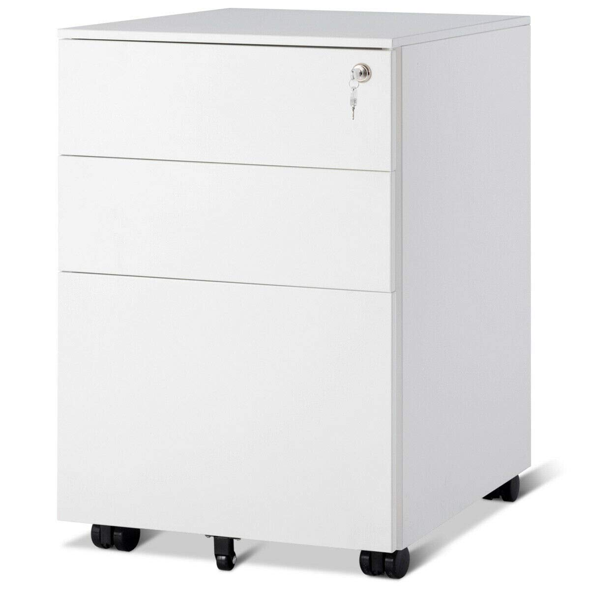 Giantex File Cabinet W/3 Lockable Drawers Include 2 Keys, Wheels, Hanging File Frame and Removable Tray, Metal Vertical Full Assembled for Office Mobile Pedestal Rolling File Cabinet (White)