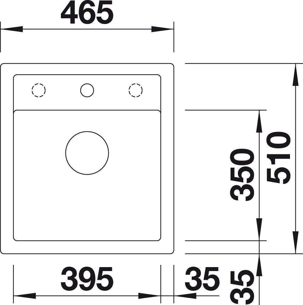 Antracita, 1 senos, 545 x 350 mm, 19 cm, 615 mm, 510 mm Fregadero BLANCO DALAGO 6