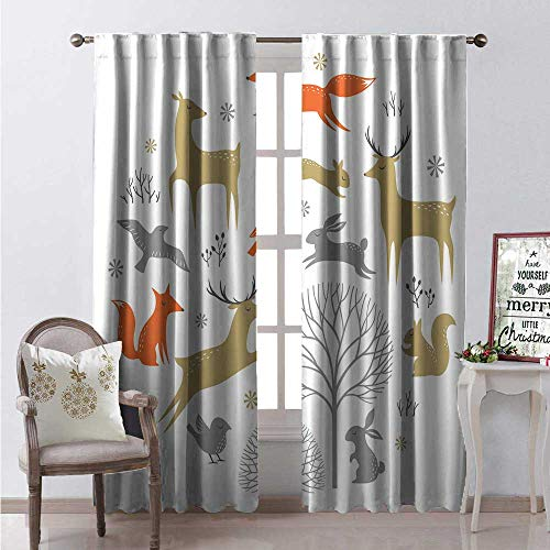 Hengshu Woodland Thermal Insulating Blackout Curtain Christmas Animals Drawing Among Trees and Snowflakes in Pastel Colors Blackout Draperies for Bedroom W96 x L84 Vermilion Pale Brown