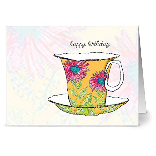 (24 Note Cards - Watercolor Teacups - Blank Cards - Pink Envelopes Included)