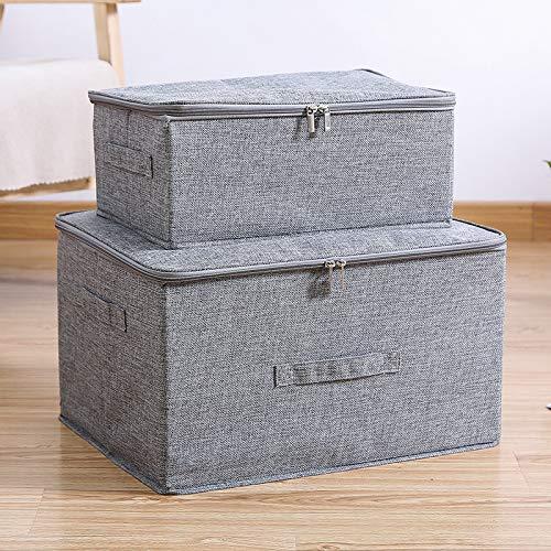 Foldable Storage Box-Cloth Covered Storage Box Clothing Finishing Cloth Box Storage Box Gray M+L