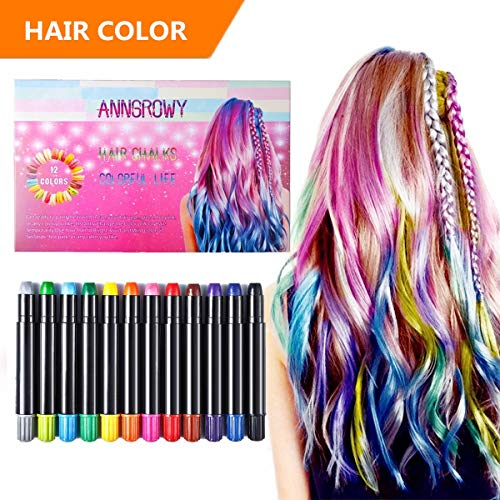 anngrowy Hair Chalk for Girls Kids Birthday Gifts for Girls Kids Temporary Hair Color Chalks pens for Any Age(3+) Washable Hair Dye for Dark Hair Color Spray Hair dye for Halloween Christmas