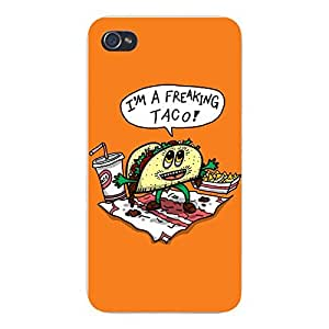 "Apple iPhone Custom Case 5 / 5S White Plastic Snap On - ""Freakin Taco"
