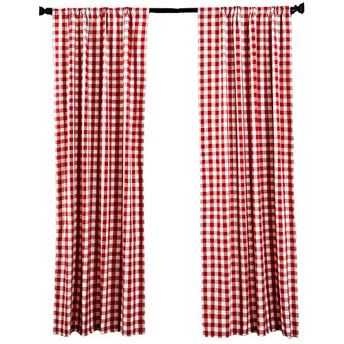 (LGHome Buffalo Check Curtains Gingham Panels for Farmhouse Style Look Red and White 53x84inch Set of 2 Panels)