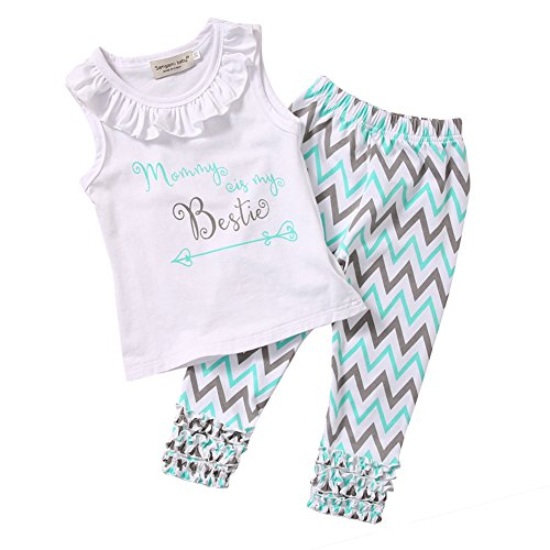 Little Girls Mommy is My Bestie Sleeveless Tank Top and Ruffle Pants Outfit (100(3-4Y), White+blue) (Candy Cane Outfit)
