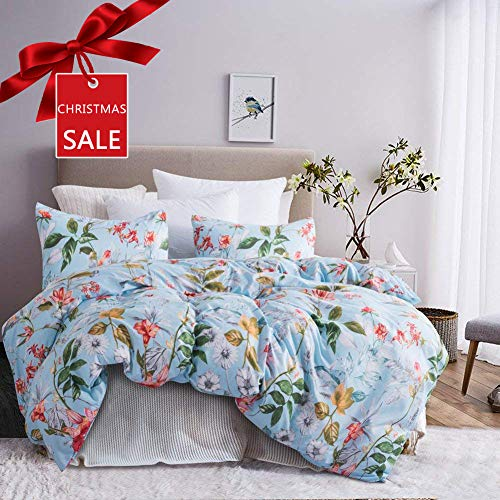 Leadtimes Duvet Cover Queen Floral Duvet Cover Set with Soft Lightweight Microfiber 1 Duvet Cover and 2 Pillowcases New Edition (Queen, Blue Floral)