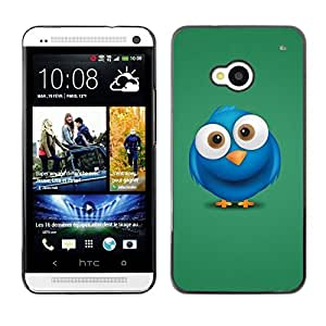 Be Good Phone Accessory // Dura Cáscara cubierta Protectora Caso Carcasa Funda de Protección para HTC One M7 // Blue Bird Big Eyes Drawing Cartoon Character