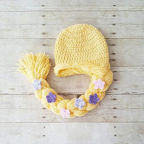cdc6fbf1cf5 Amazon.com  Crochet Baby Rapunzel Dress Hat Hair Wig Shoes Set Infant  Newborn Princess Tangled Flowers Photography Photo Prop Baby Shower Gift  Present  ...