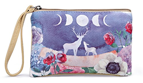 Crest Design Cute Canvas Smartphone Wristlets Cash Coin Purses, Make Up Bag, Cellphone Clutch Purse With Wrist Strap (Khaki Moose)