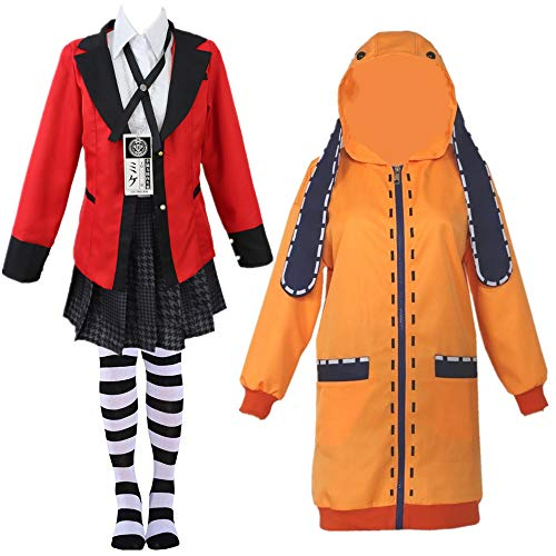 Kakegurui Twin costumes Yomoduki Runa Uniform cosplay Jabami Yumeko women Stage party girl pleated skirt cosplay (S, coat)