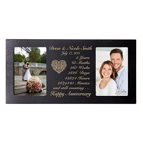 Personalized five year anniversary gift her him couple Custom Engraved wedding celebration for Husband wife girlfriend boyfriend photo frame holds two 4x6 photos by LifeSong Milestones (Black) by LifeSong Milestones